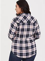 Pink Plaid Challis Button Front Shirt, MULTI, alternate