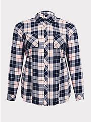 Pink Plaid Challis Button Front Shirt, MULTI, hi-res
