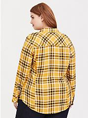 Taylor - Yellow Plaid Twill Button Front Slim Fit Shirt, MULTI, alternate