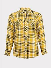 Taylor - Yellow Plaid Twill Button Front Slim Fit Shirt, MULTI, hi-res
