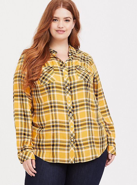 Taylor - Yellow Plaid Twill Button Front Slim Fit Shirt, , hi-res