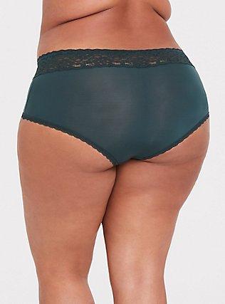 Dark Green Wide Lace Shine Cheeky Panty, GREEN GABLES, alternate