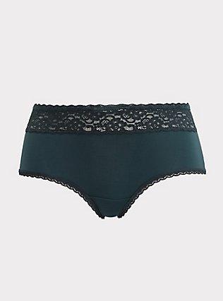 Dark Green Wide Lace Shine Cheeky Panty, GREEN GABLES, flat