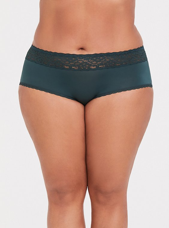 Dark Green Wide Lace Shine Cheeky Panty, , hi-res
