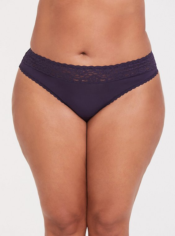 Plus Size Dark Purple Wide Lace Shine Thong Panty , , hi-res