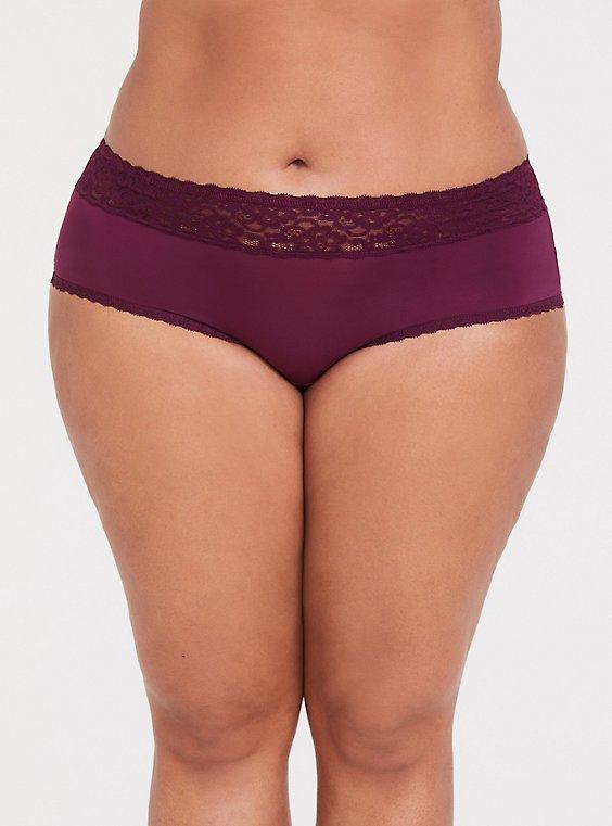 Burgundy Purple Wide Lace Shine Cheeky Panty, , hi-res