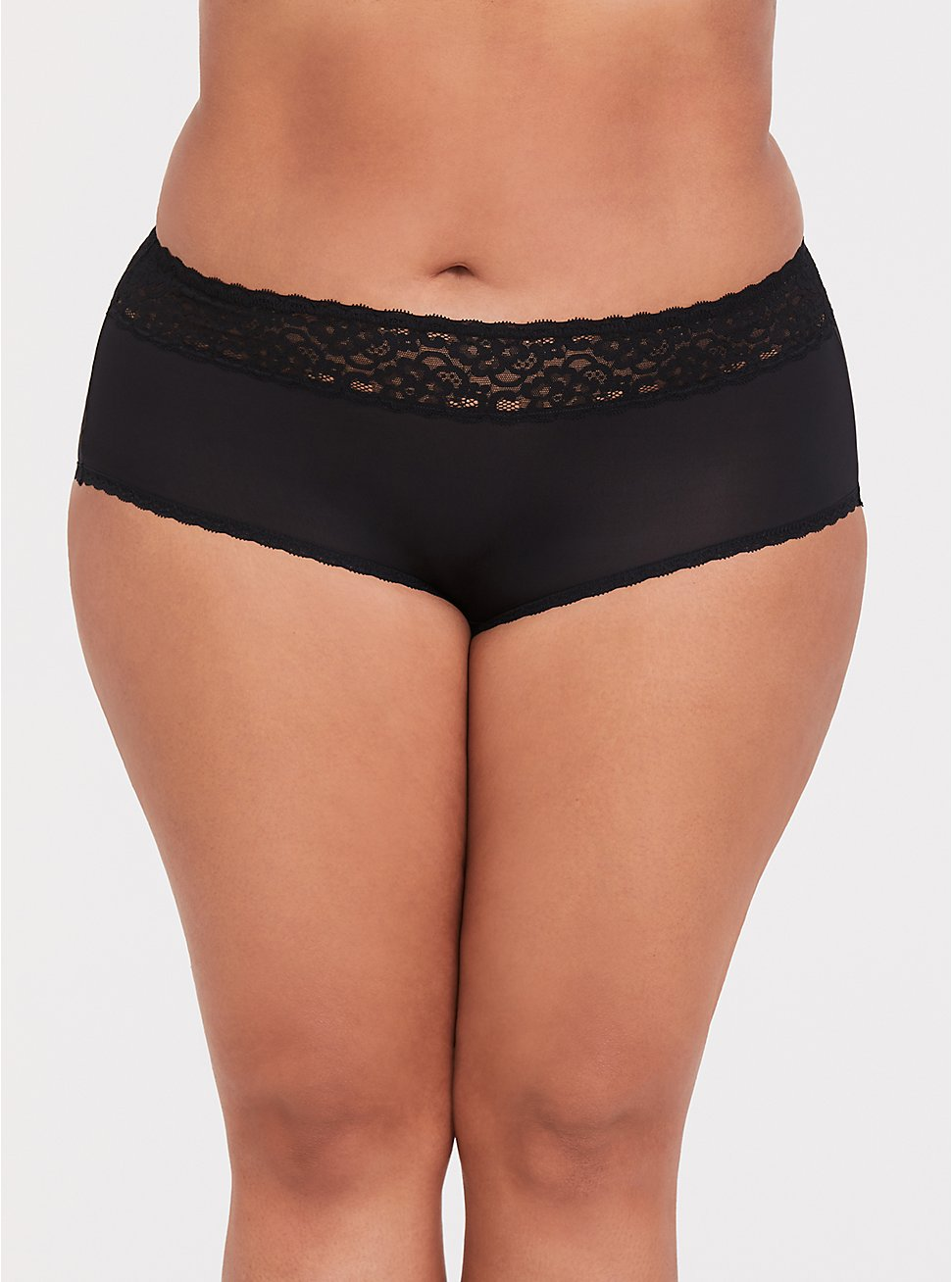 Black Wide Lace Shine Cheeky Panty, RICH BLACK, hi-res
