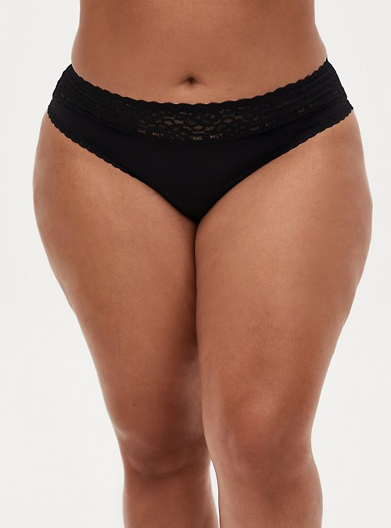 Black Wide Lace Shine Thong Panty, , hi-res