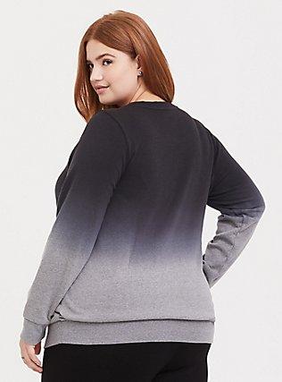 Plus Size Harry Potter Deathly Hallows Ombre Grey Sweatshirt, BLACK  GREY, alternate