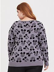 Disney Mickey Mouse Print Knitted Grey Sweater, , alternate