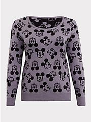 Disney Mickey Mouse Print Knitted Grey Sweater, , hi-res