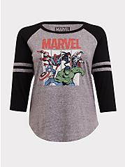 Plus Size Her Universe Marvel Football Raglan Top, BLACK  GREY, hi-res