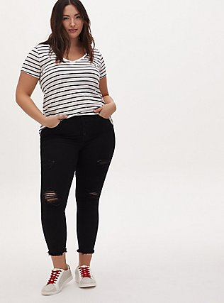 Plus Size  Classic Fit V-Neck Tee - Heritage Cotton White & Black Stripe, STRIPES, alternate