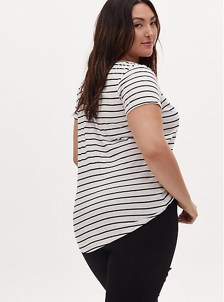 Classic Fit V-Neck Tee - Heritage Cotton White & Black Stripe, STRIPES, alternate