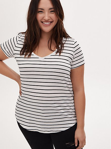 Classic Fit V-Neck Tee - Heritage Cotton White & Black Stripe, STRIPES, hi-res
