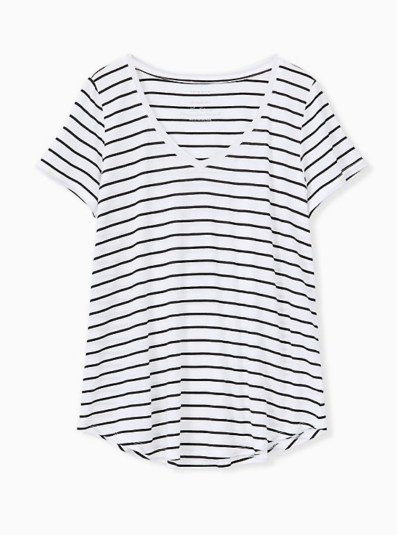 Classic Fit V-Neck Tee - Heritage Cotton White & Black Stripe, STRIPES, ls