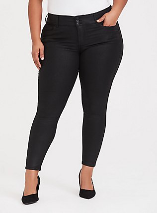 Jegging - Super Stretch Black Coated, COATED, hi-res