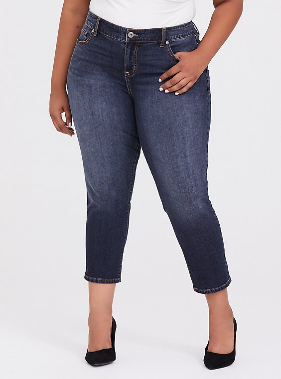 Plus Size Mid Rise Straight Jean - Vintage Stretch Dark Wash, , hi-res