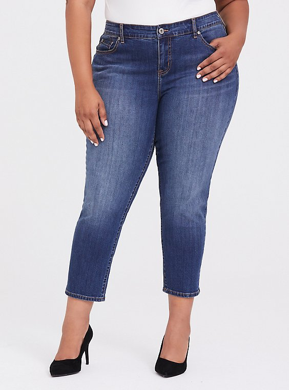 Plus Size Mid Rise Straight Jean - Vintage Stretch Medium Wash, , hi-res
