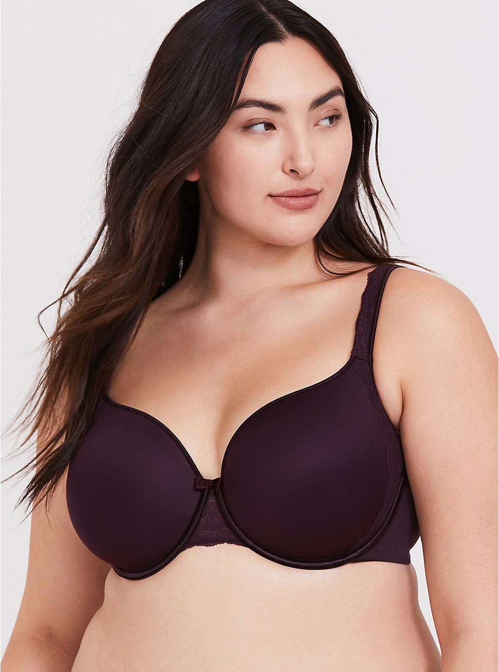 Grape Purple Microfiber Lightly Lined Full Coverage Bra, GRAPE SEED, hi-res