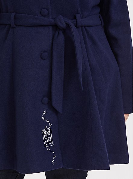 Plus Size Her Universe Doctor Who TARDIS Blue Hooded Fit & Flare Woolen Trench Jacket, PEACOAT, alternate