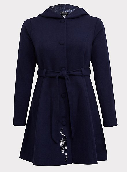 Plus Size Her Universe Doctor Who TARDIS Blue Hooded Fit & Flare Woolen Trench Jacket, PEACOAT, hi-res