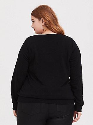 Plus Size Disney Minnie Mouse Black Polka Dot Fleece Sweatshirt, DEEP BLACK, alternate