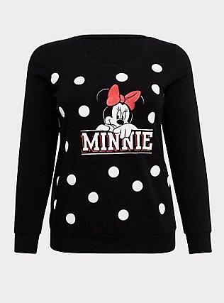 Plus Size Disney Minnie Mouse Black Polka Dot Fleece Sweatshirt, DEEP BLACK, flat