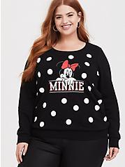 Disney Minnie Mouse Black Polka Dot Fleece Sweatshirt, DEEP BLACK, hi-res