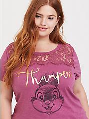 Disney Bambi Thumper Rose Pink Lace Yoke Top, RED, hi-res