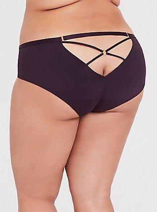 Grape Purple Microfiber Crisscross Back Hipster Panty, GRAPE SEED, hi-res