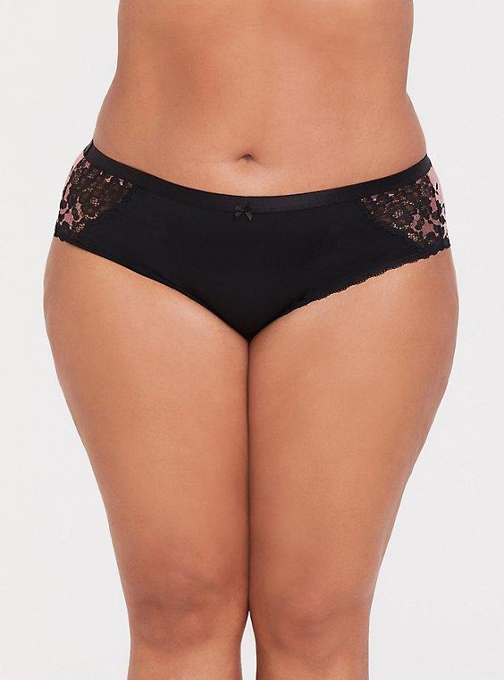 Black & Pink Microfiber Lace Hipster Panty, , hi-res