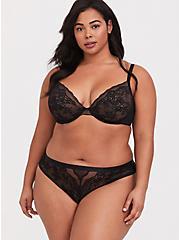 Black Mesh & Lace Thong Panty, RICH BLACK, alternate