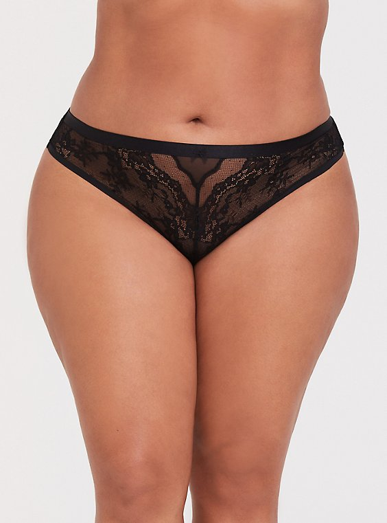 Plus Size Black Mesh & Lace Thong Panty, , hi-res
