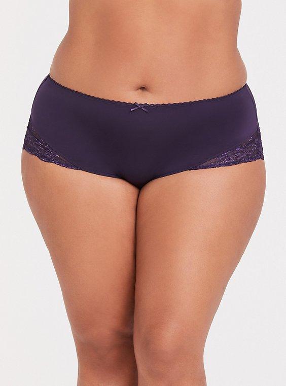 Dark Purple Microfiber & Lace Back Brief Panty , , hi-res