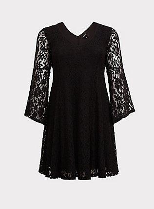 Black Lace Bell Sleeve Trapeze Dress, DEEP BLACK, flat