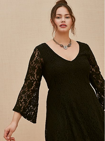 Plus Size Black Lace Bell Sleeve Fluted Mini Dress, DEEP BLACK, hi-res