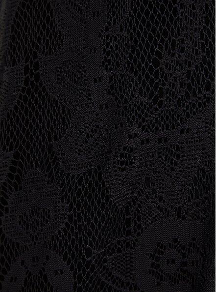 Plus Size Black Lace & Crochet Button Front Dress, DEEP BLACK, alternate