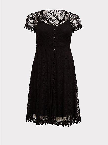 Plus Size Black Lace & Crochet Button Front Dress, DEEP BLACK, hi-res