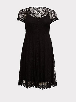Plus Size Black Lace & Crochet Button Front Dress, DEEP BLACK, flat