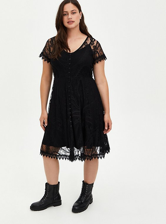 Plus Size Black Lace & Crochet Button Front Dress, , hi-res