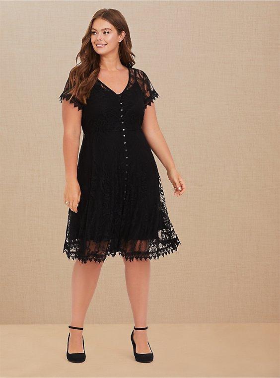 Black Lace & Crochet Button Front Dress, DEEP BLACK, pdped