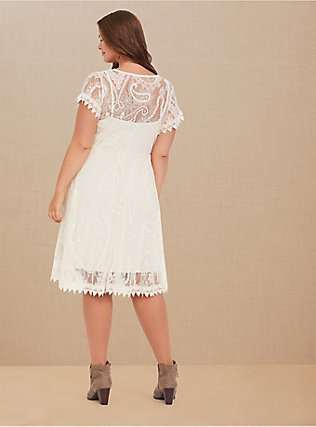 Ivory Lace & Crochet Button Front Dress, BIRCH, alternate