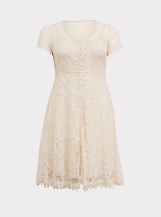 Ivory Lace & Crochet Button Front Dress, BIRCH, flat