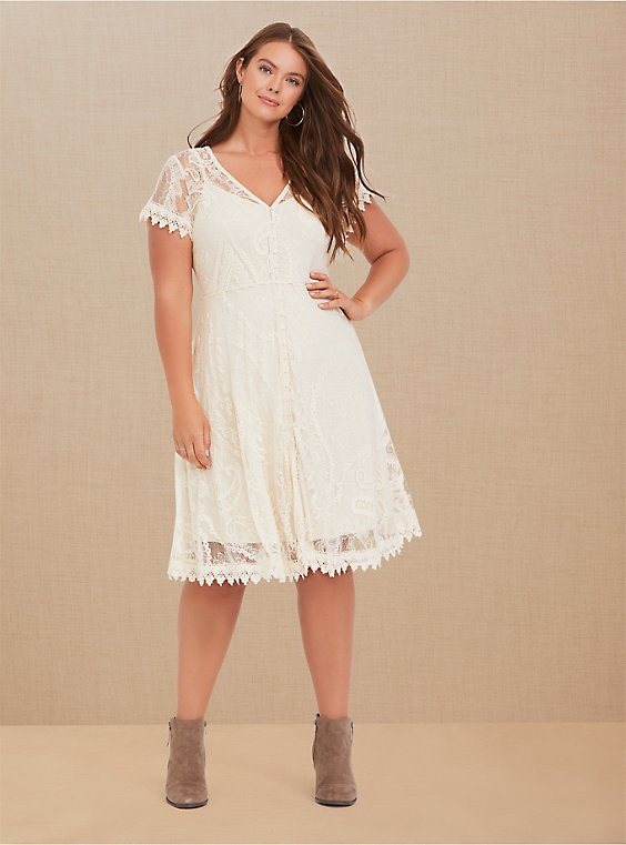 Plus Size Ivory Lace & Crochet Button Front Dress, , hi-res