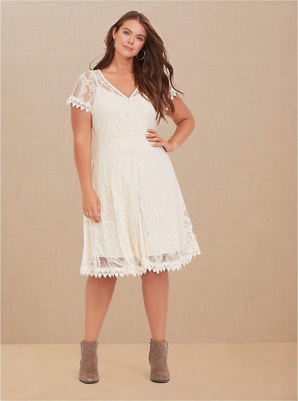 Ivory Lace & Crochet Button Front Dress, BIRCH, hi-res