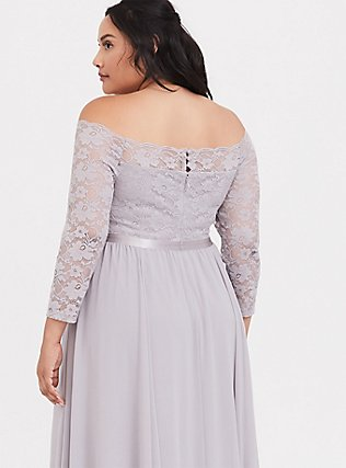 Special Occasion Lilac Purple Lace & Chiffon Off Shoulder Gown, IRON CHARCOAL, alternate