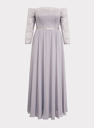 Special Occasion Lilac Purple Lace & Chiffon Off Shoulder Gown, IRON CHARCOAL, flat