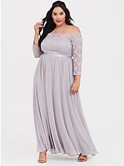 Special Occasion Lilac Purple Lace & Chiffon Off Shoulder Gown, IRON CHARCOAL, hi-res
