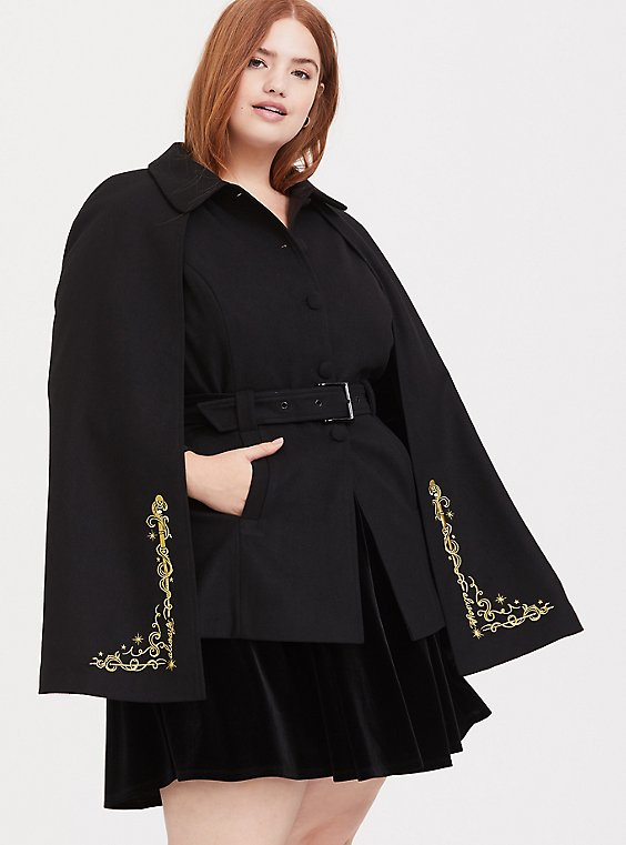 Harry Potter Always Embroidered Black Woolen Cape Coat, , hi-res